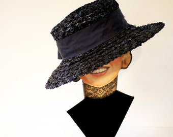 Vintage 1950s Blue Original Chapeaux Louise Straw Hat