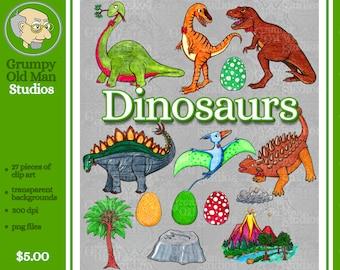 dinosaur clipart / hand drawn  / stegosaurus / brontosaurus / velociraptor / t-rex /  pterosaur / ankylosaurus  / digital download