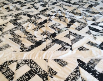 Black/White Queen handmade Quilt