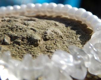 White Quartz and White Pearls Beaded Bar Bracelet.