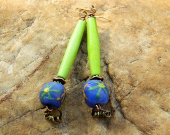 Lime Green Batik Bone Bead Earrings