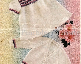 knitting pattern, girls dress and cardigan, sizes 19-22in, pdf, digital download, instant download