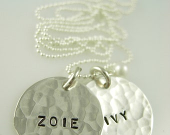 Hand Stamped Necklaces- Hand Stamped Jewelry-Mothers Necklace-Engraved Necklace