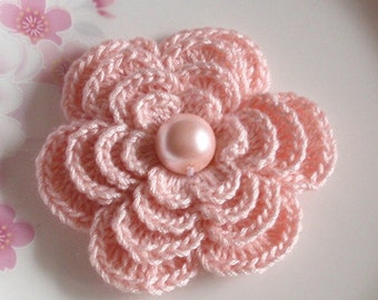 Crochet Flower in 2-3/4 inches in Lt  Pink YH - 152-02