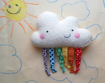 Happy Rainbow Cloud Baby Plushie Toy - Organic Cotton Fleece - Plush - Stuffed - Soft - Play - Tactile - Eco-Friendly