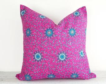 Boho Pillow Covers, Pink Pillow Cases, Vibrant Pink Pillows, Pink Saree Pillows, Sari Pillows,  Bohemian Pillows, Pink Throw Pillow, 20x20