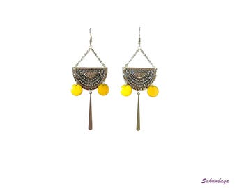 Earrings, half moon, yellow, enameled sequins, candlestick, ethnic, bohemian, tribal