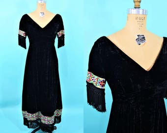 1970s velvet maxi | black bohemian vneck fringe embroidered maxi dress | vintage 70s maxi | W 29""