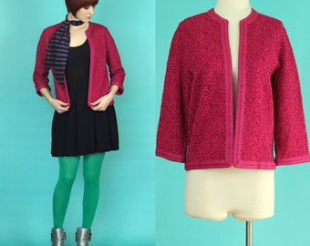 Vintage 60s Cardigan - Hot Pink Sweater - Glitter Cardigan - Sparkly Sweater - Rose Print Floral Cardigan - Wool Cardigan - Size Med / Large