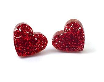 Red Glitter Acrylic Heart Earrings - Sparkle Heart Studs - Valentines Jewelry - Laser Cut Earrings - Red Heart Post Earrings - Gift for Her