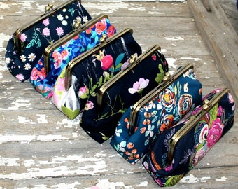 Gift for Bridesmaids, Personalized Bridesmaid Gift Idea for Her Clutch Set Purse Floral Design your own gifts