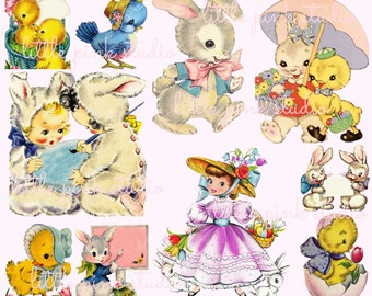 Easter Cuties,  Printable Collage Sheet (digital download, printable)