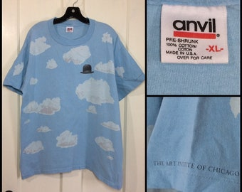 1990s Rene Magritte Art Institute of Chicago all over full print surreal clouds bolo hat t-shirt size XL 22x27 artist avant garde college