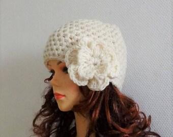 Crochet Beanie Crochet Womens Hat with Flower Womens Accessories Winter Girls Hat Crochet Accessories womens cloche hat creamy Flower Beanie