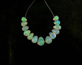 Clear ethiopian Welo opal smooth drop AAA 4-6.5mm 13 pieces