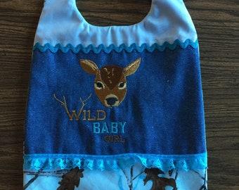 Baby Bibs - Blue Camo - Handmade - Machine Embroidered - New