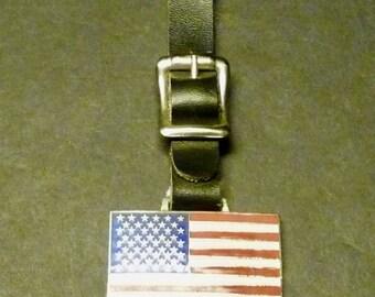 American Flag Pledge Allegiance Watch Fob with Strap