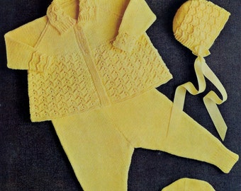 Baby Pram Set in  DK yarn for sizes18-20ins -  Knitwell 509 - Vintage Baby Knitting Patterns