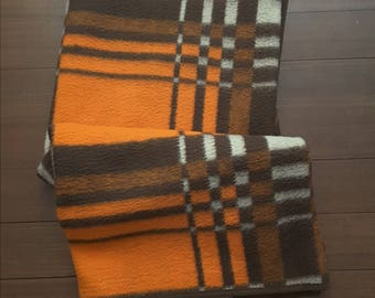 Vintage years 70-80 acrylic blanket in typical brown and orange colors.