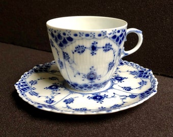 Vintage Royal Copenhagen Full Lace Fluted Blue Tea Cup and Saucer Early 1960s