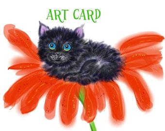 Black Rescue Kitten - Spookie in the Flower #1