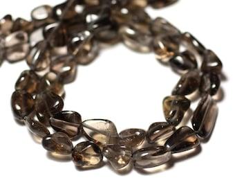 10pc - stone beads - 7-12mm - 8741140011694 Olives smoky Topaz