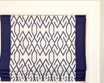 Faux (fake) flat roman shade valance with grosgrain ribbon trim.  Lacefield Zoe Blend Navy.