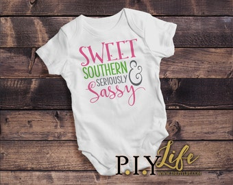 Kids | Sweet Southern and Seriously Sassy Kids Bodysuit DTG Printing on Demand