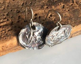 REDUCED Fine Silver Wax Stamp Earrings, Heraldic Dragon Earrings, Wax Seal Dragon, Archaic Earrings, .999 Fine Silver, Kiln Fired, Dragon