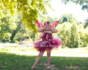 Woodland Rose Fairy Tutu Dress - Newborn 3 6 9 12 18 Months 2T 3T 4T 5 6 ... Birthday Halloween Costume Baby Gift - Pretty Pink Butterfly  sc 1 st  Etsy : rose fairy costume  - Germanpascual.Com