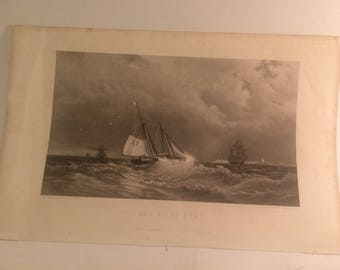 """Fine little engraving titled """"the pilot boat"""" engraved expressly for the ladies repository; W Wellstood; 1860s"""