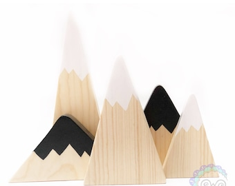 mountain blocks nursery decor home decor shelf decor birthday gift wooden blocks