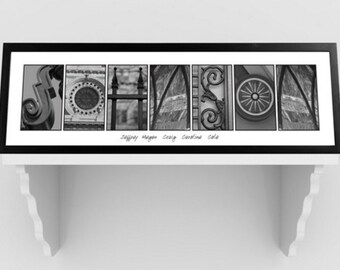 Architectural Elements III Black and White Family Name Prints - Personalized