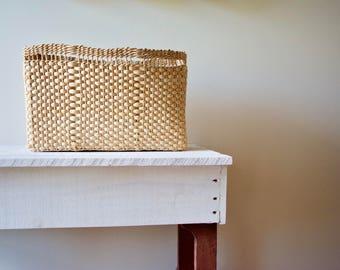 Vintage Woven Basket || Square Straw Basket