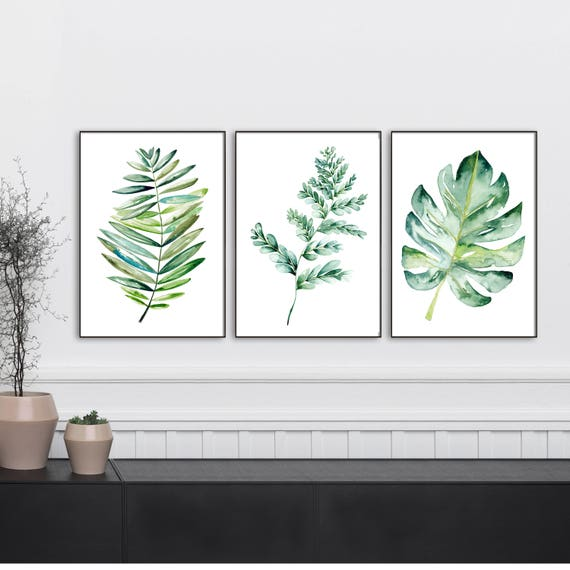 Botanical print sets of leaf art Watercolor kitchen art set