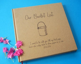 CUSTOM Our Bucket List Guest Book · Bucket List Wedding Decor · Our Bucket List Journal · Bucket List Gift for Bride and Groom · Bucket List