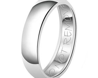 7mm Do Not Remove Engraved Classic Sterling Silver Plain Wedding Band Ring
