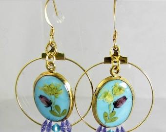 Little Flowers on Teal  and Swarovski Element Dangle Earrings,Resin, Pressed Flower Earrings (1884)