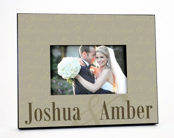 Personalized Picture Frame for 4x6 Photo Wedding or Anniversary Gift UPJA-01