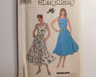 Vintage Simplicity Sewing Pattern 8003 Jiffy  Womens Fashion Sleeveless Dress  Misses Size HH 6-8-10-12 Published 1987 Made for knit fabrics