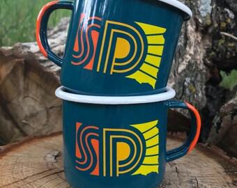 Enamel Mug South Dakota Set - South Dakota Sunny Camping Mug Set of Two - Enamel Camp Mugs SD Sunny - South Dakota mugs by Oh Geez! Design