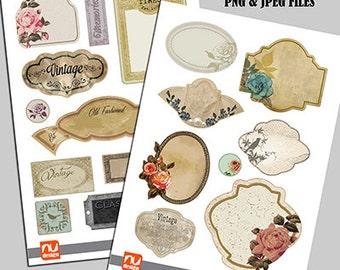 20 Digital Printable Vintage Floral Label Set - 300dpi PNG & Jpeg Files. Ideal for scrapbooking.