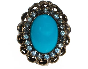 Vintage Turquoise and Rhinestone Statement Ring
