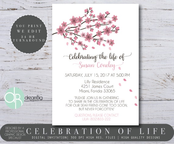 Celebration of Life Invitations Digital Invitations Memorial
