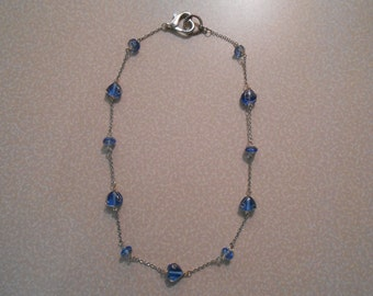 Wire-Wrapped Blue Glass Necklace
