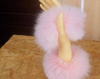 Fur cuffs, hand cuffs Fuchsfell Pink
