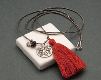 Long Tassel Necklace, Orange Boho Tassel Necklace, Silver Flower Pendant, Boho Hippie Chic Necklace, Unique Gift for Her, Tassel Jewelry