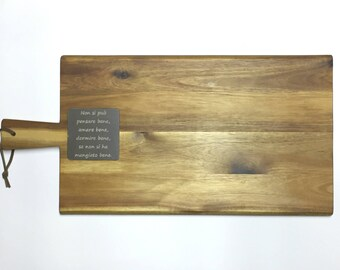 Acacia board with personalized plate