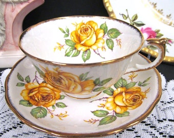 Adderley Tea Cup and Saucer Super Yellow Roses All Over Teacup Pattern