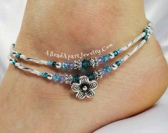 Anklet Ankle Bracelet Flower Anklet Tropical Anklet Beach Anklet Beach Jewelry Crystal Anklet Beaded Anklet Double Strand Anklet Blue Anklet